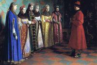 Репродукция картины Г. Седова «Выбор невесты царём Алексеем Михайловичем». 1882.