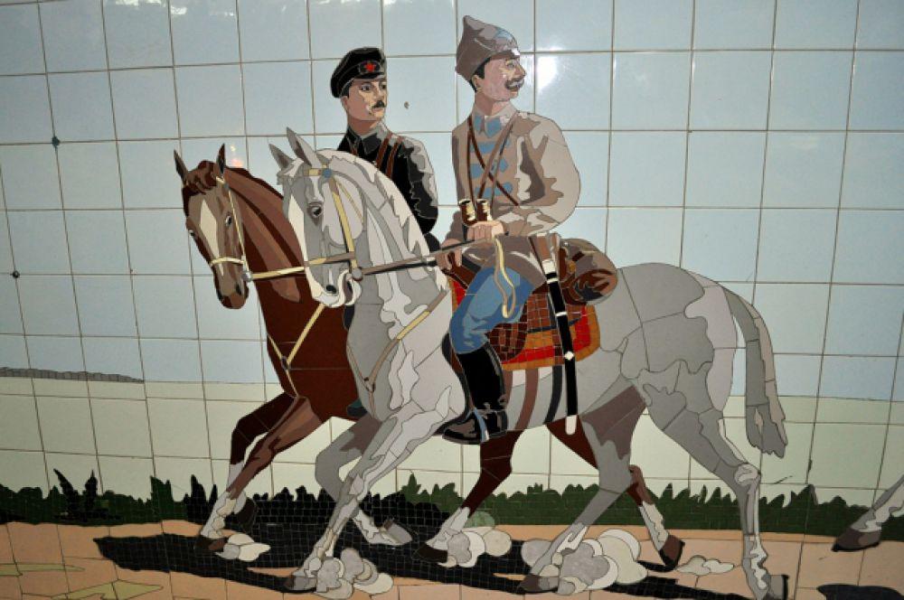 Огромное мозаичное полотно в переходе на пр. Будённовском продолжает тему патриотизма и казачества.