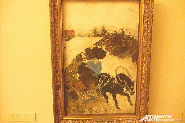 Небольшой по размерам холст «Катание на масленице» попал в галерею в 1928 году. До 1917 года он находился в собрании юриста, журналиста, коллекционера и мецената Аркадия Руманова.
