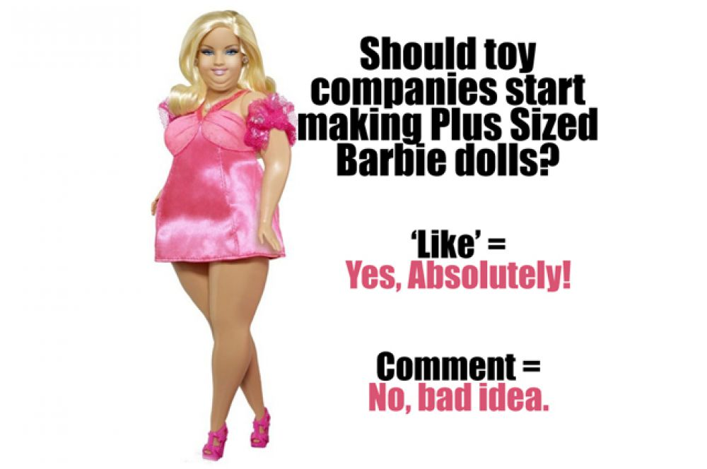 В 2013 году в группе Plus Size Modeling в Facebook появился снимок Барби, где с помощью фотошопа идеальной кукле добавили пару десятков килограммов. Авторы идеи предложили подписчикам проголосовать, стоит ли производителям выпускать такие куклы вместо существующих.