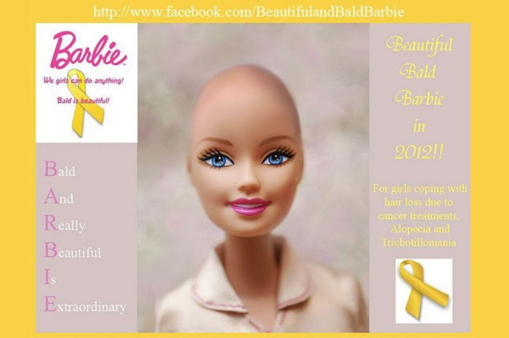 В 2012 году Mattel выпустили куклу, которая отличается от остальных отсутствием роскошной копны волос. Игрушка была выпущена как «подруга Барби» в поддержку девочек, лишившихся волос в результате химиотерапии.