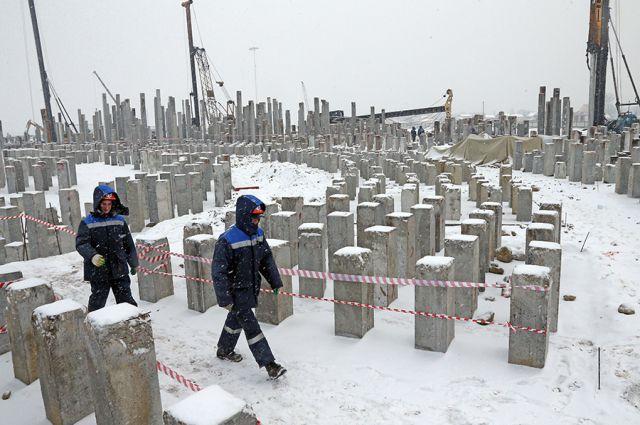 Строительство стадиона к ЧМ-2018 в Калининграде. Январь 2016 года.
