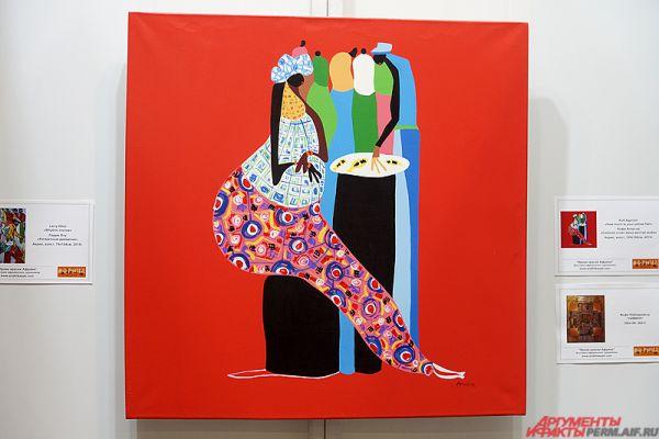 На экспозиции «Яркие краски Африки» изображены бытовой уклад жизни местных жителей и древние символы «солнечного континента», написанные в форме ярких полотен.