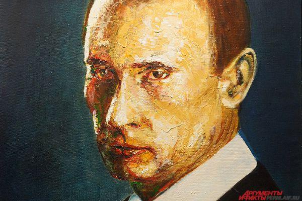 На одной из его работ изображён Владимир Путин.