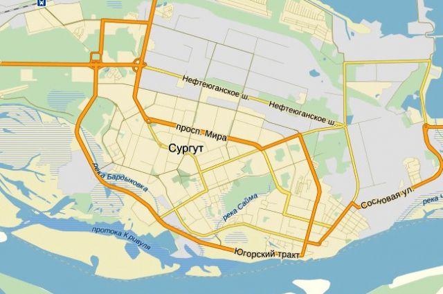 Карта Сургута.