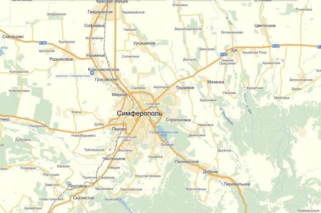 Карта. Симферополь и окрестности