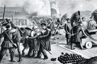 Смертельное ранение вице-адмирала Корнилова на Малаховом кургане. Акварель А. Земцова. 1860-е гг.
