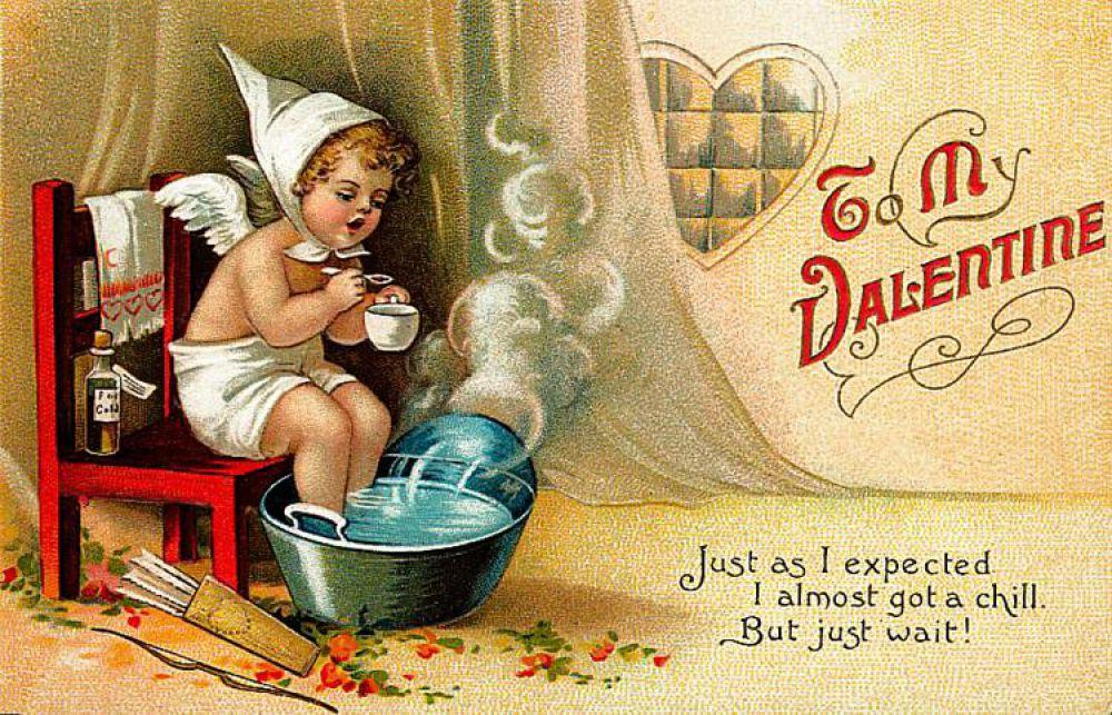 Автором первых доступных валентинок стал Джон Маклауглин, который решил добавить возвышенной романтике нотки иронии