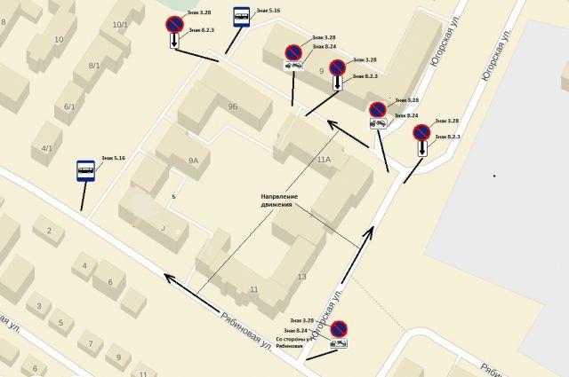 Схема движения общественного транспорта на улицах Югорской и Рябиновой.