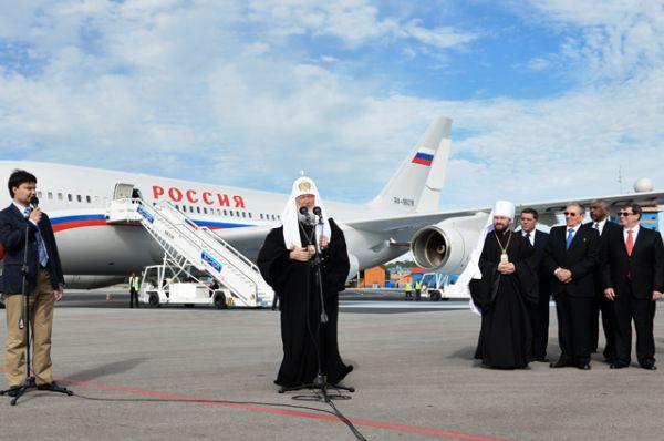 Патриарх Московский и всея Руси Кирилл в аэропорту города Гаваны.