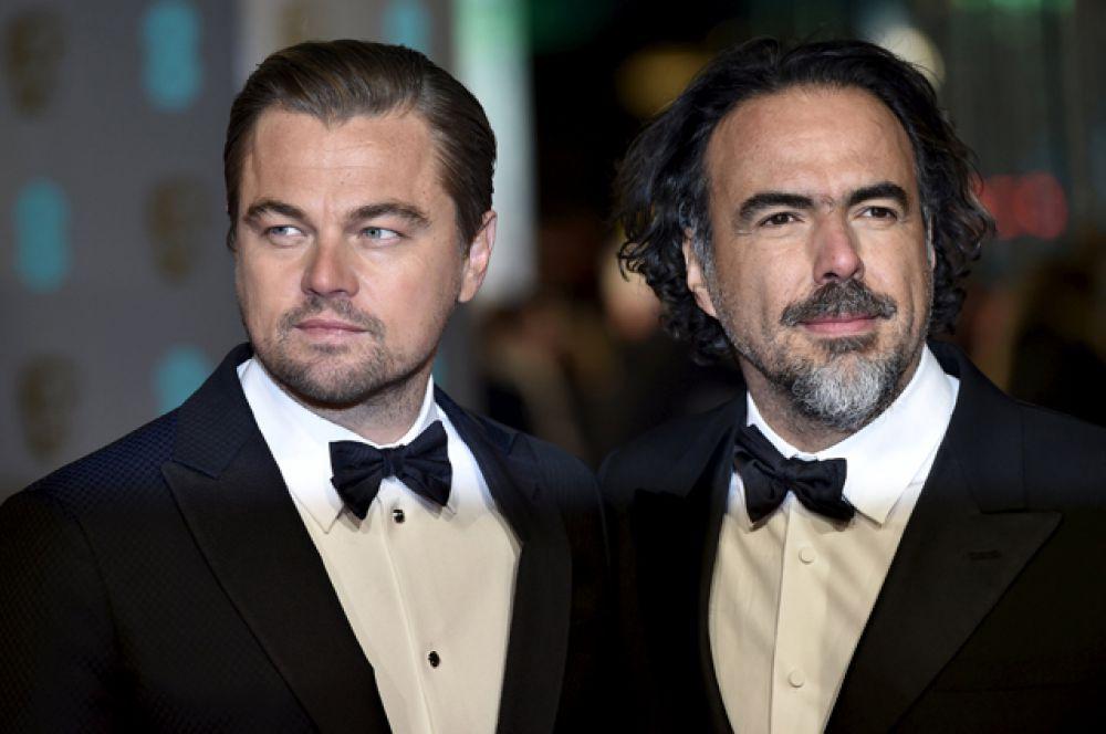 Леонардо Ди Каприо, номинированный на лучшую мужскую роль («Выживший»), и режиссёр фильма Алехандро Гонсалес Иньярриту.