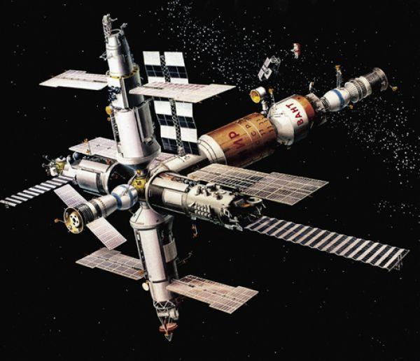 «Связка» станции «Мир», научных и технологических модулей и космических кораблей.