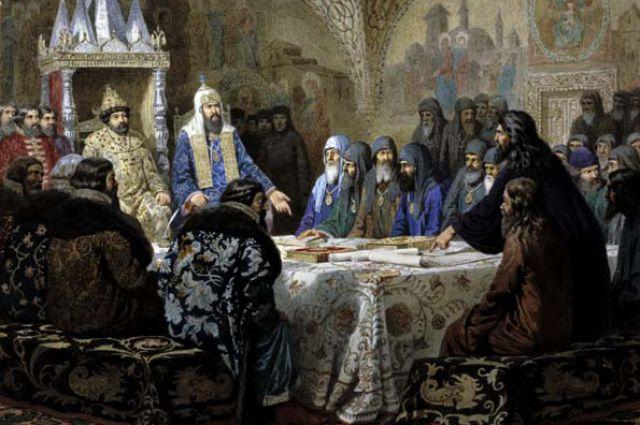 Церковный Собор 1654 года (Патриарх Никон представляет новые богослужебные тексты) А. Д. Кившенко, 1880 год.