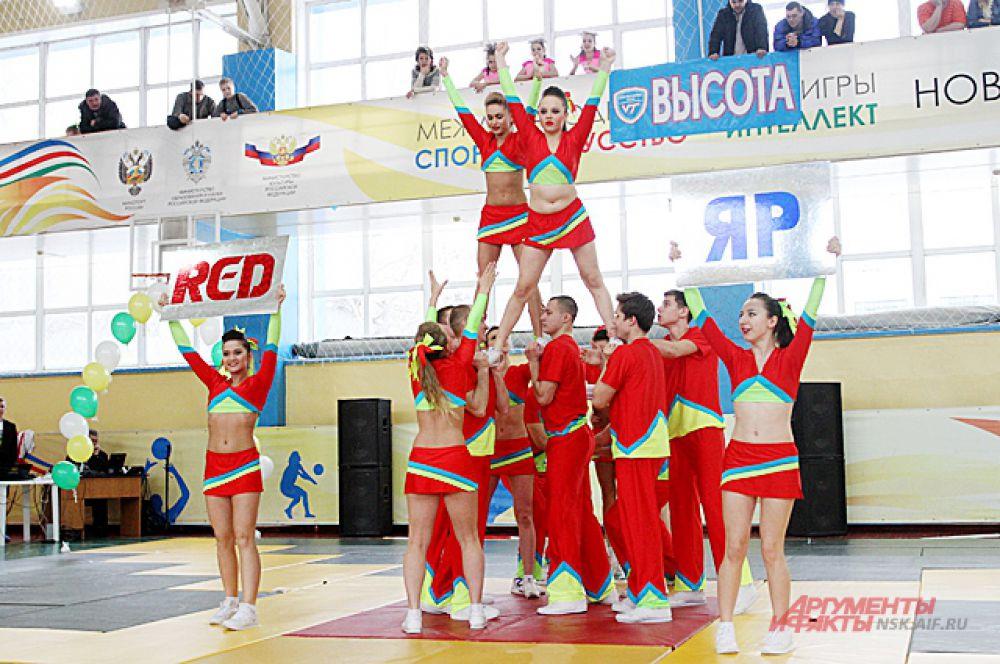 Существует несколько дисциплин. Например, чир — элементы спортивной гимнастики и акробатики, построение пирамид и танцевальные перестроения под кричалки.