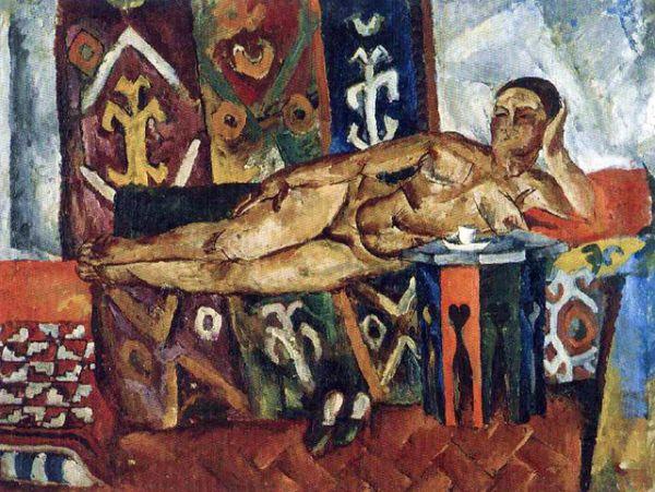 После Октябрьской революции Пётр Кончаловский перешёл к более реалистической манере, став одним из ведущих мастеров советской живописи. «Шахерезада». 1917