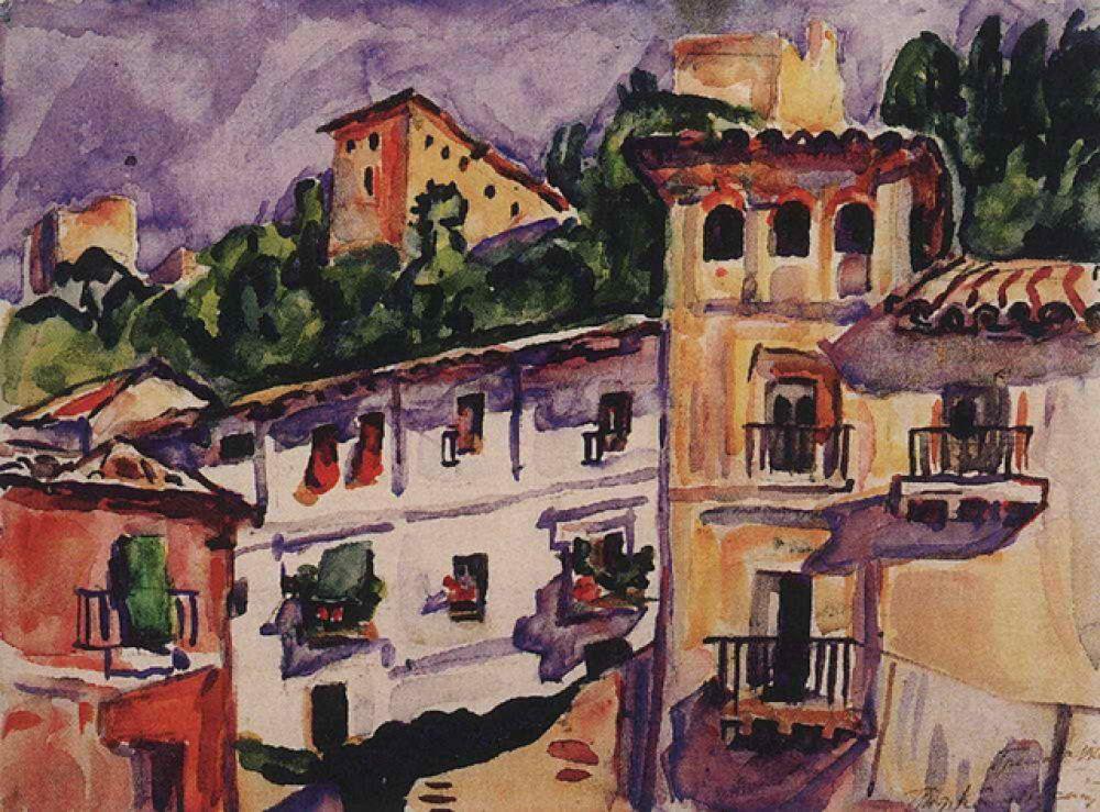 В живописи Кончаловский был сезаннистом и вообще испытывал сильное влечение к Европе, прекрасно говорил по-французски. «Гренада». 1910.
