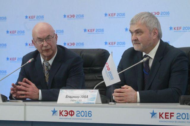 Ректор СФУ Евгений Ваганов и глава ФМБА Владимир Уйба.