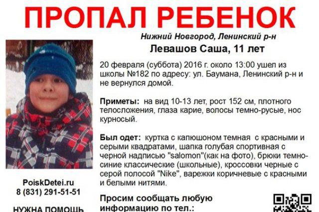 Одиннадцатилетний Саша Левашов, пропавший вНижнем Новгороде, найден
