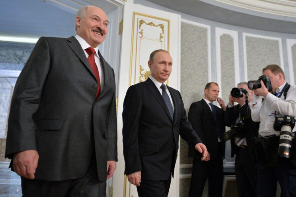 Президент России и президент Белоруссии перед заседанием Высшего Государственного Совета.