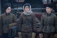 Светлана Смирнова, Анастасия Цибизова и Саара Кадак на съёмках «Коридора бессмертия».