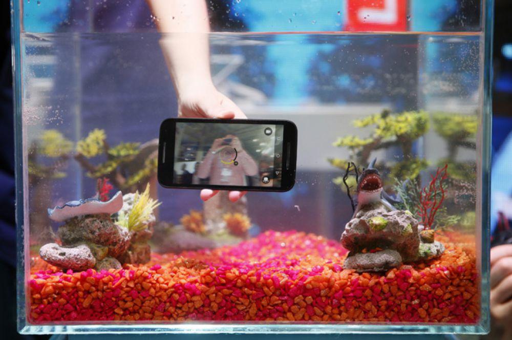На стенде компании Motorola характеристики новинки Moto G демонстрировали путём погружения мобильного телефона в аквариум.