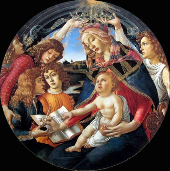 В начале 1480-х годов Боттичелли создал «Мадонну Магнификат» (1481—1485), картину, прославленную уже при жизни художника, о чём свидетельствуют многочисленные копии. Подобные картины в форме круга были очень популярны во Флоренции XV века.