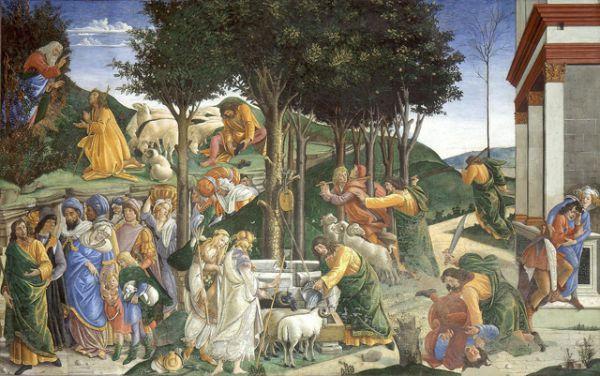Быстро распространявшаяся слава Боттичелли вышла за пределы Флоренции. В 1481 году папа Сикст IV призвал Боттичелли в Рим. Вместе с Гирландайо, Росселли и Перуджино Боттичелли украсил фресками стены папской капеллы в Ватикане, известной как Сикстинская капелла. Боттичелли создал для капеллы три фрески: «Наказание Корея, Дафна и Авирона», «Искушение Христа» и «Призвание Моисея» (на фото), а также 11 папских портретов.