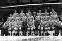 Сборная СССР - победитель чемпионата мира и Европы по хоккею с шайбой.