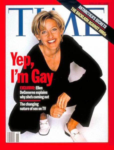 14 апреля 1997 года. На обложке Time — американская актриса и телеведущая Эллен Дедженерес, внутри журнала — её откровенное интервью после признания своей нетрадиционной ориентации.