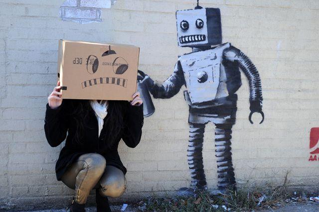 Одна из граффити Бэнкси.