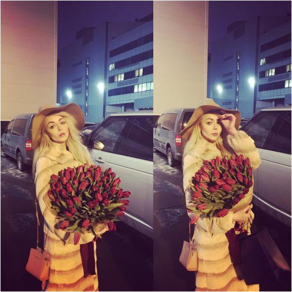 Раньше праздника подарки  получила и Алина Гросу, певице подрили огромный букет тюльпанов