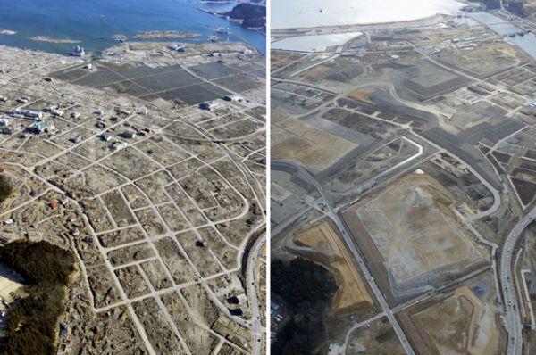 Город Рикудзентаката в префектуре Иватэ 5 апреля 2011 и 16 февраля 2016 года.