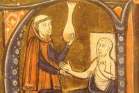 Европейское изображение Ар-Рази в книге, Герарда Кремонского «Канон врачебной науки» (перевод труда Ибн Сины), 1250—1260 гг.