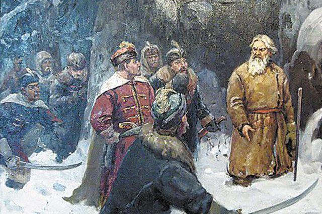 Репродукция картины А. Баранова «Подвиг Ивана Сусанина». Музей подвига Ивана Сусанина.