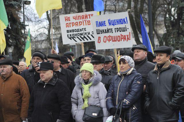 митинг аграриев у здания Верховной Рады, Киев