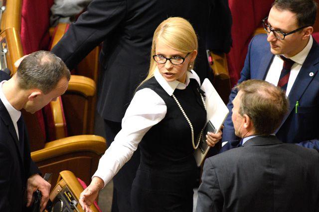 Юлия Тимошенко на заседании Верховной Рады Украины.