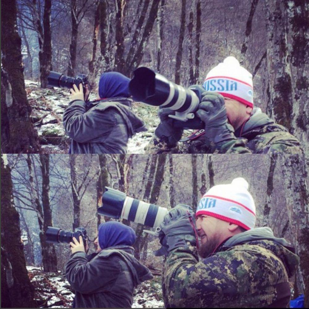 Здесь Кадыров вместе со своей женой Медни Мусаевной фотографирует природу. «К сожалению, редко удаётся взять в руки фотоаппарат и походить по лесу. Сегодня мы с Медни Мусаевной сделали небольшую серию фотографий. Ей это понравилось. Она намерена купить себе небольшую, но хорошую камеру», – написал комментарий к посту Кадыров.