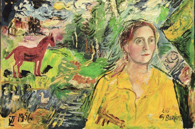 Репродукция портрета Лили Брик (1956 год) работы художника Давида Бурлюка.