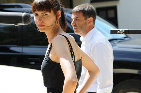Режиссёр Анна Матисон и исполнитель главной роли Евгений Гришковец на съемочной площадке фильма «Сатисфакция».