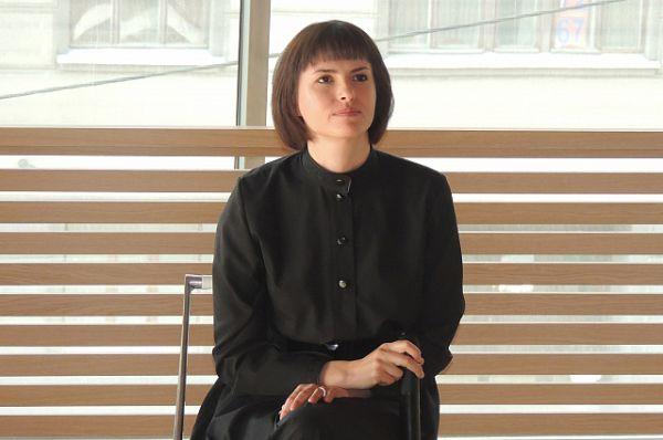 Анна напрезентации своего фильма в Санкт-Петербурге.
