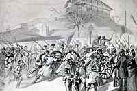 Исторический рисунок, на котором жители Парижа помогают затащить два орудия национальной гвардии на Монмартр.