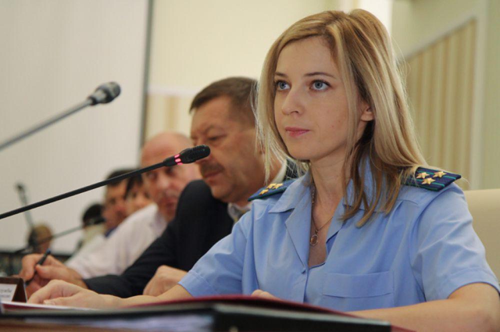 Прокурор Крыма Наталья Поклонская на заседании Совета министров Крыма в Симферополе, 2 сентября 2014.