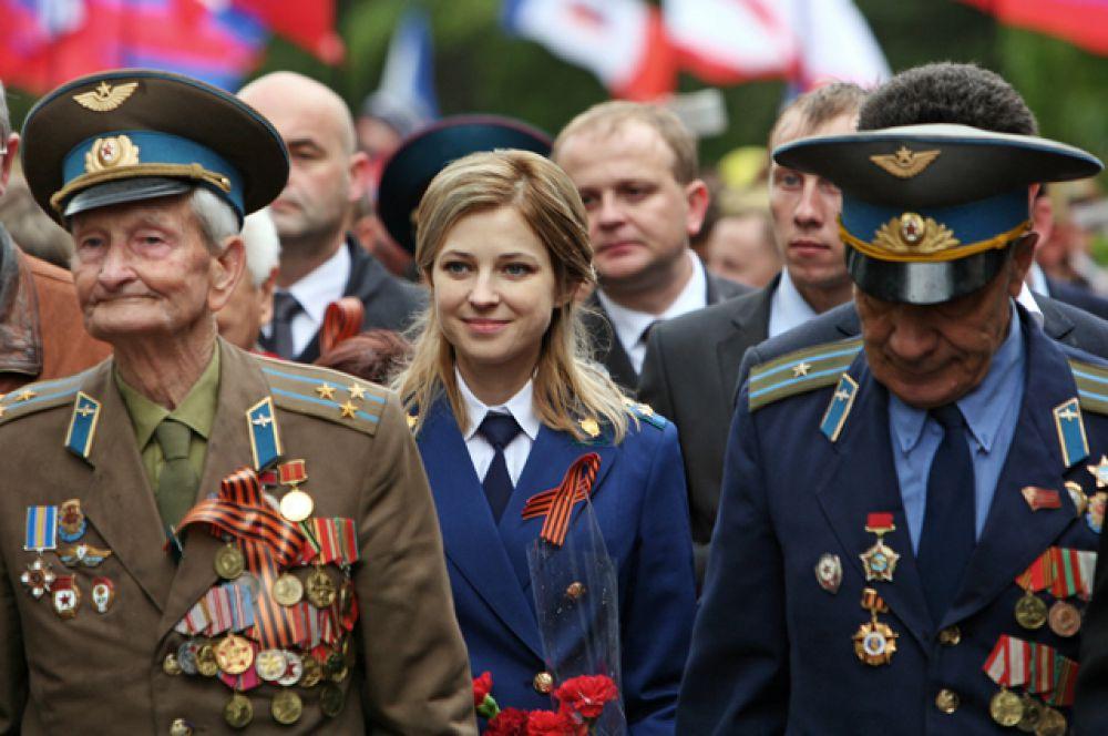 Наталья Поклонская во время празднования Дня Победы в Симферополе, 9 мая 2014 года.