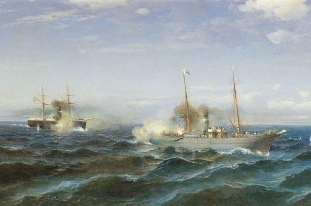 Судковский Р. Г. 1881, «Бой парохода «Веста» с турецким броненосцем «Фетхи-Буленд» в Чёрном море 11 июля 1877 года».