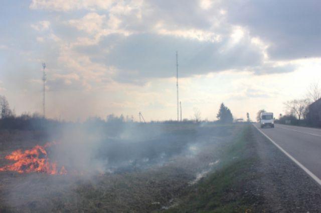 Из-за несанкционировнного пала травы перекрыта часть Окружной дороги/