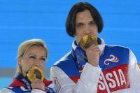 Максим Траньков и Татьяна Волосожар во время Олимпиады в Сочи.