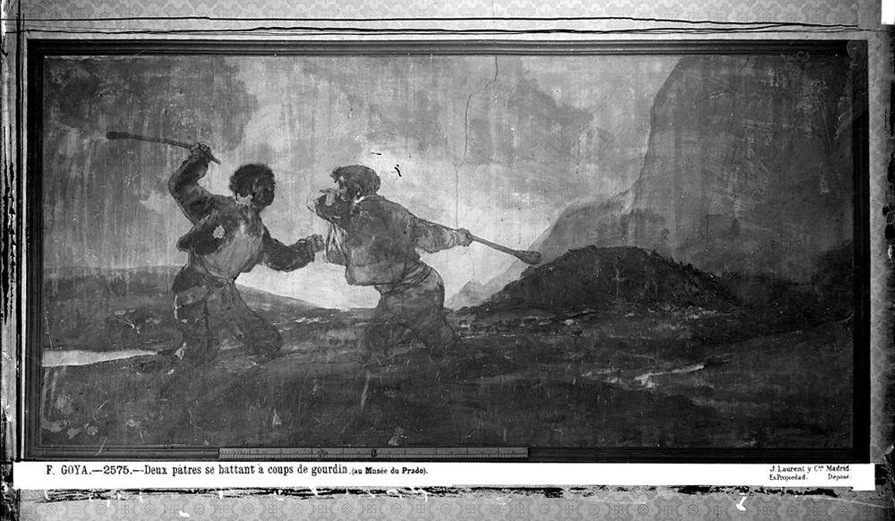 «Поединок на дубинах». Роспись, написанная между 1819 и 1823 годами на стене «Дома Глухого». На картине двое мужчин дерутся на дубинах, при этом утопая в чем-то: песке, грязи или траве. Картина может представлять собой братоубийственную схватку Каина и Авеля, дерущихся на палках в поле, где они утопали по колено в хлебах. Также существует версия, что картина символизирует эпоху бессмысленных и жестоких гражданских войн в Испании.