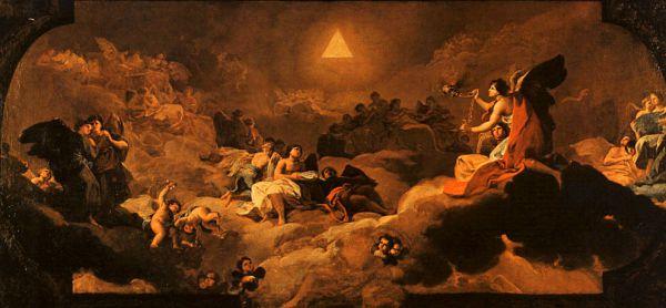 «Поклонение имени Бога», 1772 г. Фреска, написанная на потолке купола малого хора Богородицы в Базилике-де-Нуэстра-Сеньора-дель-Пилар в Сарагосе. Первая серьезная работа молодого Гойи после возвращения в Испанию из Италии. Гойя продемонстрировал подлинное мастерство во владении методами фресковой живописи. Интересно, что за свой труд он получил гораздо меньшее вознаграждение, чем другие художники, работавшие над росписью церкви.