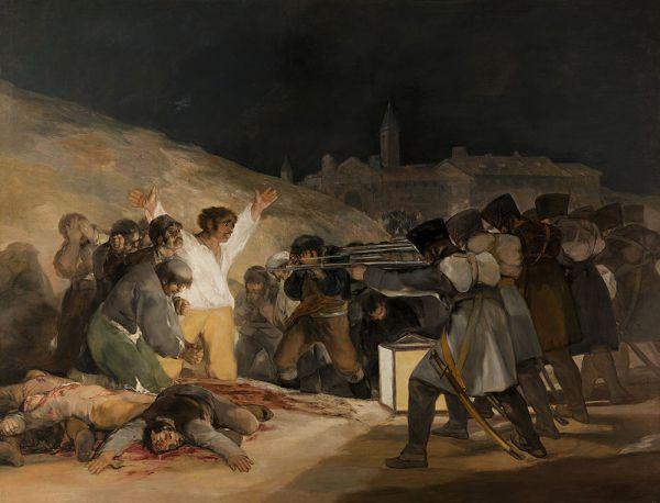 «Третье мая 1808 года в Мадриде», 1814 г. 2 мая 1808 г. оккупировавшие Испанию французы жестокого подавили патриотическое восстание в Мадриде. Подавление мятежа сопровождалось массовыми казнями 2 и 3 мая. После изгнания французов Гойя получил правительственный заказ на две картины, которые должны были увековечить «героические сцены славной борьбы испанцев с тираном Европы». Художник выполнил его в свойственной ему манере, поэтому картины не были оценены по достоинству. Вместо героических фигур и патетических жестов Гойя довольно точно передал атмосферу страшного насилия над людьми.
