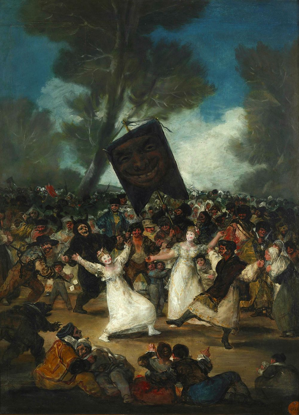 «Похороны сардинки». 1812-1819 гг. На картине запечатлён шутовской обычай. По легенде, в XVIII в. король решил угостить сардинами горожан в честь Пепельной среды. Однако обнаружилось, что рыба испортилась. Подвыпившие граждане решили превратить всё в шутку и устроили похороны сардине. Во времена Гойи шествие в Мадриде начинали шутливые персонажи: «дядюшка Чиспас», его «дочь Чуска» и «сердцеед Хуанильо». За ними следовало чучело с сардиной на голове. «Хоронили» рыбину у берегов Мансанареса. Странно, но у Гойи нет ни сардины, ни чучела. Вместо них — большой стяг с улыбающейся маской.